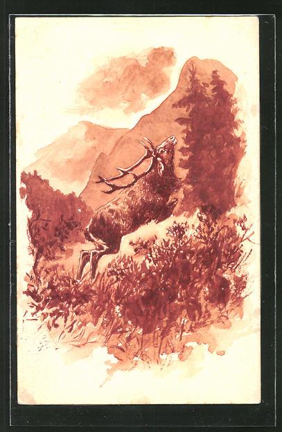 Künstler-AK Handgemalt: Hirsch springt durch den Wald