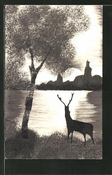 Künstler-AK Handgemalt: Hirsch beobachtet den Sonnenaufgang über dem See