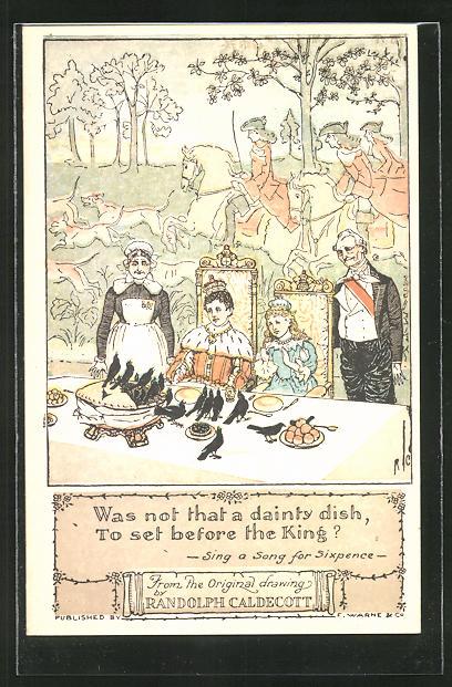 Künstler-AK sign. R. Caldecott.: Königspaar an der gedeckten Tafel, schwarze Raben auf dem Tisch, Jäger im Hintergrund