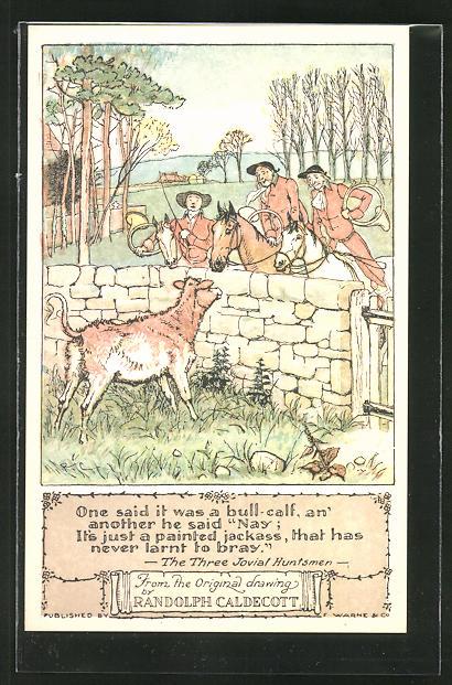 Künstler-AK sign. Randolph Caldecott: Kalb blickt über eine Steinmauer auf die Jäger