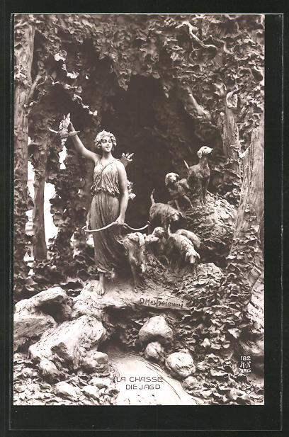 Künstler-AK Domenico Mastroianni: La Chasse, Die Jagd