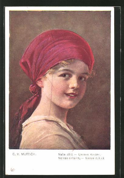 Künstler-AK Camil Vladislav Muttich: Unsere Kinder: freches Mädchen mit Kopftuch