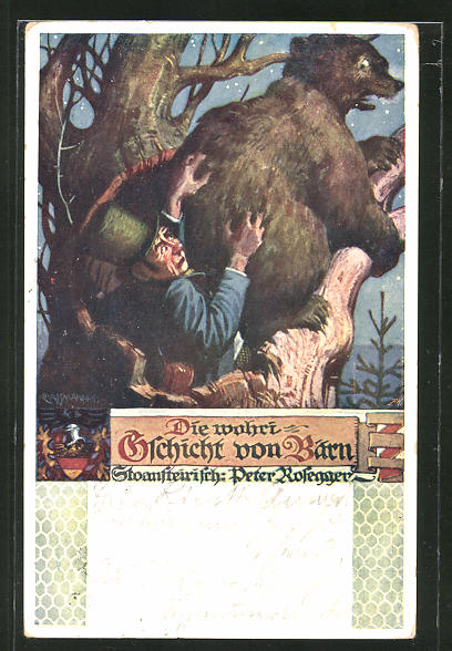 Künstler-AK Richard Assmann: Die wahre Geschicht vom Bärn, Bär auf einem Baum
