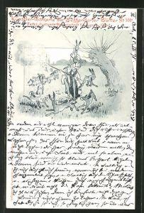 Künstler-AK Meggendorfer Blätter Nr.508: Jäger inmitten von Feldhasen