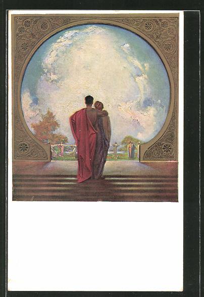 Künstler-AK Ludwig Fahrenkrog: Paar blickt durch einen Torbogen auf tanzende Frauen,