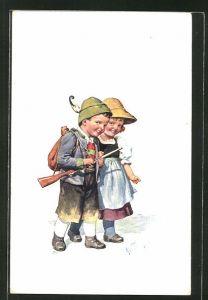 Künstler-AK Karl Feiertag: Junger Jäger mit Gewehr und kleiner Freundin