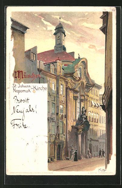 Künstler-AK Heinrich Kley: München, St. Johann Nepomuk-Kirche