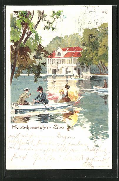 Künstler-AK Heinrich Kley: Ruderpartie auf dem Kleinhesseloher See