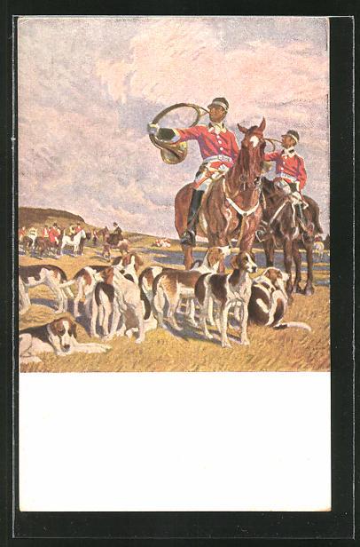 Künstler-AK Angelo Jank: Jagdgesellschaft mit Hunden,