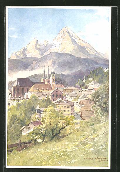 Künstler-AK Edward Harrison Compton: Berchtesgaden, Ortsansicht mit Gebirgspanorama