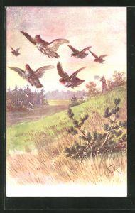 Künstler-AK Fr. Rösler: fiehende Vögel mit schiessendem Jäger
