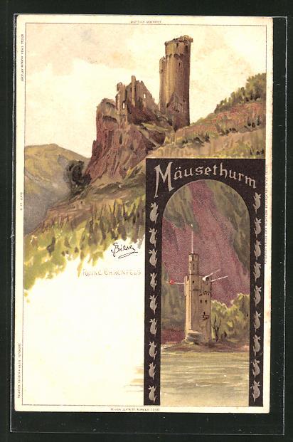 Künstler-AK Carl Biese: Mäusethurm und Ruine Ehrenfels