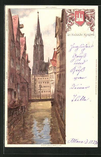 Künstler-AK Carl Biese: St. Nicolai-Kirche