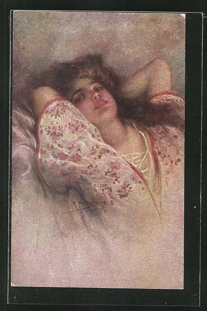 Künstler-AK R. Borrmeister: Liebesträume, schöne Frau räkelt sich in ihrem Bett