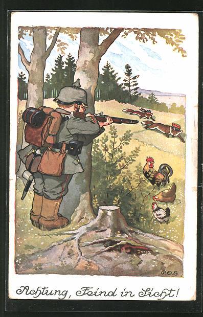 Künstler-AK P. O. Engelhard (P.O.E.): Achtung, Feind in Sicht!, Soldat m. Pickelhaube schiesst auf feindl. Fuchs-Soldaten