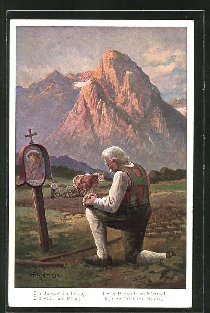 Künstler-AK Max Kuglmayr: betender Mann an der Waldandacht
