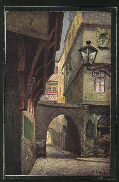 Künstler-AK Bernhard Liebig: Frankfurt a. M., Hinter dem Lämmchen, Haus z. Mohrenkopf