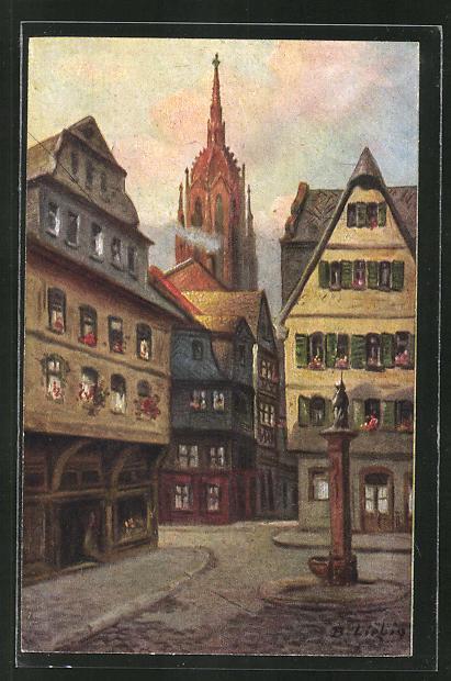 Künstler-AK Bernhard Liebig: Frankfurt a. M., In der Saalgasse
