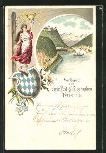 Lithographie Verband des bayer. Post- & Telegraphen-Personals, Postkutsche, Wappen