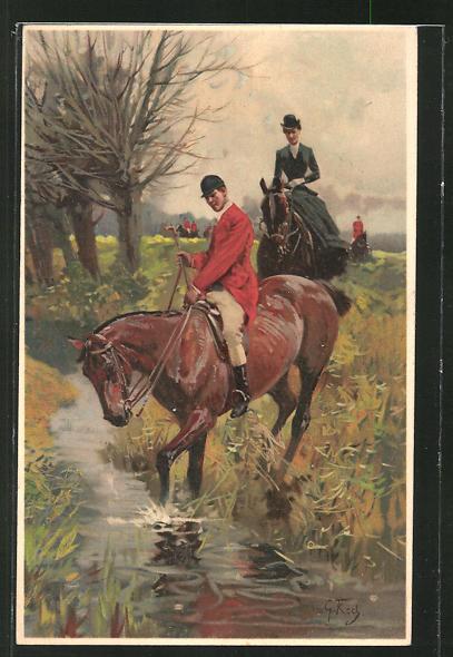 Künstler-AK sign.G. Koch: Jäger an einem Fluss