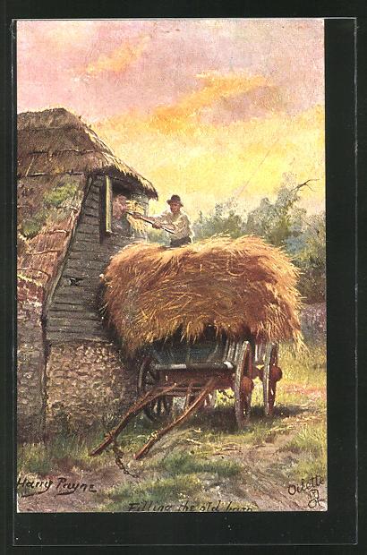 Künstler-AK Harry Payne: Bauer beim Stroh verladen