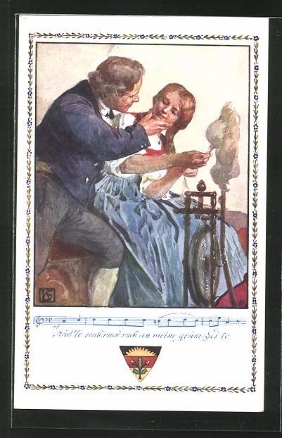 Künstler-AK Karl Friedrich Gsur: Deutscher Schulverein Nr.366: Mädchen am Spinnrad, Lied