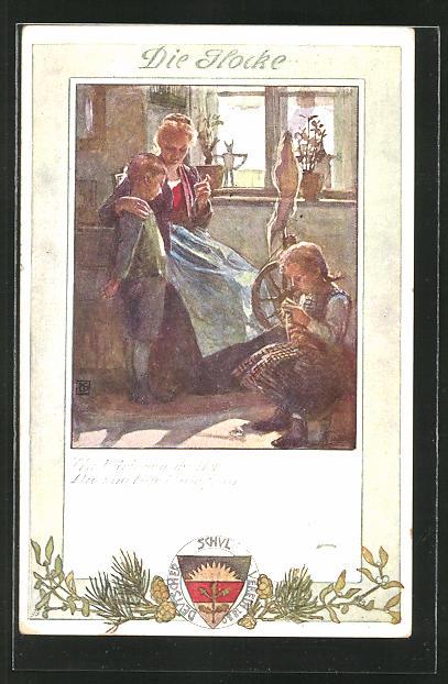 Künstler-AK Karl Friedrich Gsur: Deutscher Schulverein Nr.196: Mutter mit Kinder in der Stube, Spinnrad