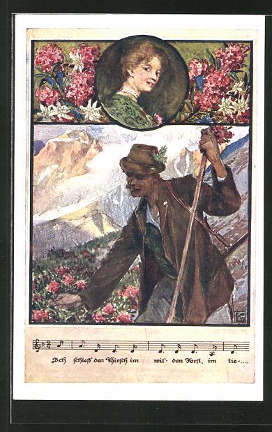 Künstler-AK Karl Friedrich Gsur: Deutscher Schulverein Nr.1393: Wanderer pflückt Blumen, Lied