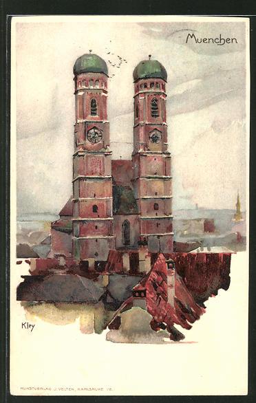 Künstler-AK Heinrich Kley: München, Blick auf die Frauenkirche