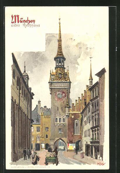 Künstler-AK Heinrich Kley: München, Strassenpartie am alten Rathaus