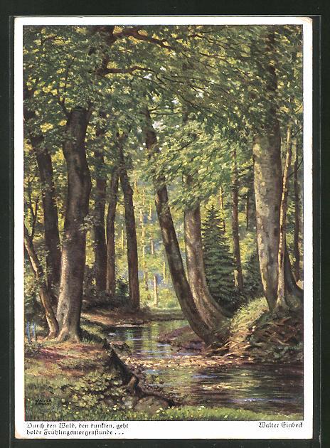 Künstler-AK Walter Einbeck: Durch den Wald, den dunklen, geht holde Frühlingsmorgenstunde