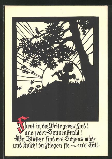 Künstler-AK Georg Plischke: kleiner Engel mit Flöte auf einer Wiese