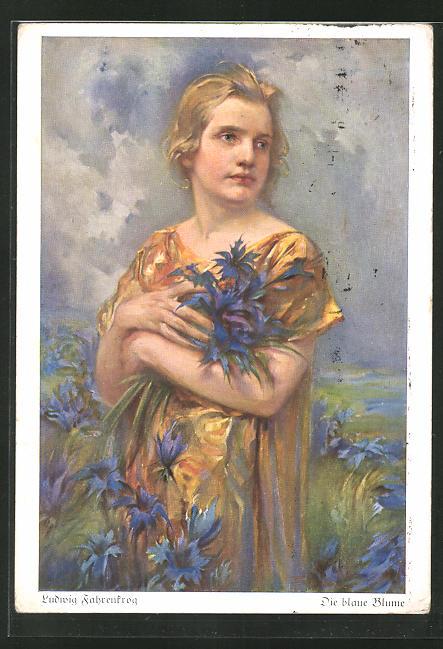 Künstler-AK Ludwig Fahrenkrog: Die blaue Blume, Mädchen mit Kornblumen