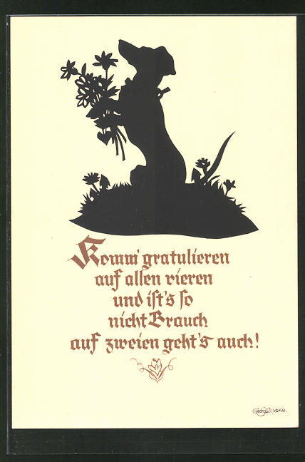 Künstler-AK Georg Plischke: Dackel mit Blumen