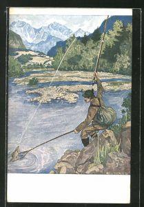 Künstler-AK Eugen Ludwig Hoess: Angler fängt einen Karpfen