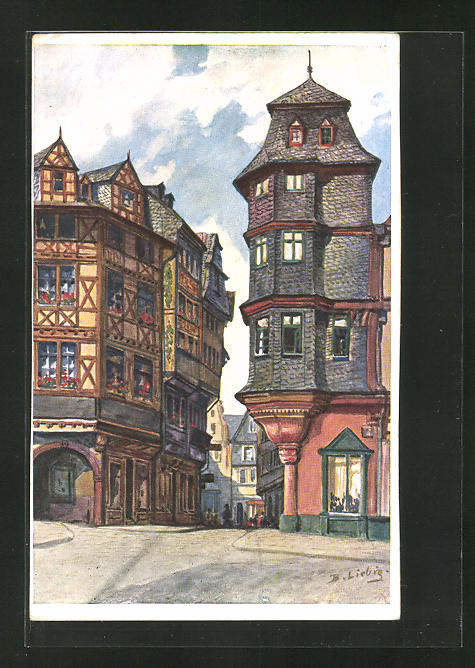 Künstler-AK Bernhard Liebig: Frankfurt a. Main, Luther Eck