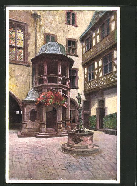 Künstler-AK Bernhard Liebig: Frankfurt a. Main, Römer, Wendeltreppe