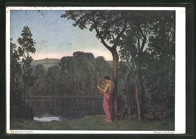 Künstler-AK Walter Einbeck: Mystische Stunde, Harfespieler