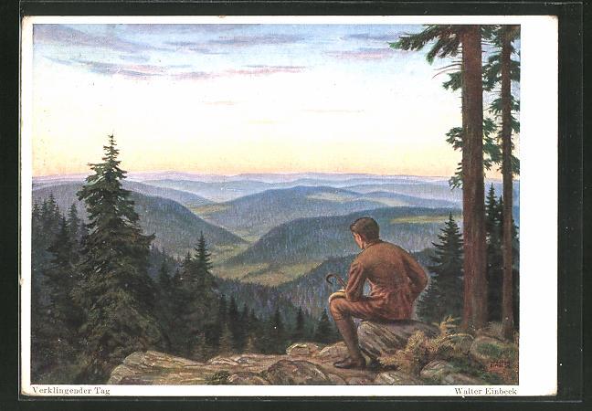 Künstler-AK Walter Einbeck: Verklingender Tag, Wanderer