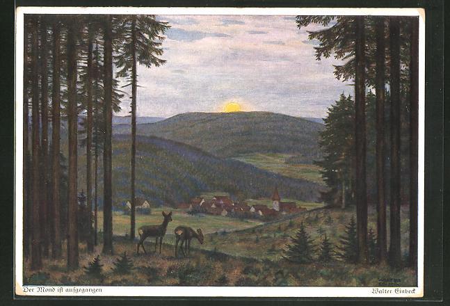 Künstler-AK Walter Einbeck: Der Mond ist aufgegangen, Landschaft mit Rehen