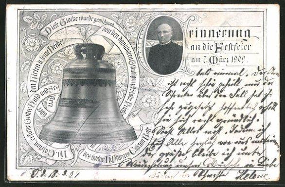 AK Glockenweihe am 7.3.1909 durch den Pfarrer Gaietan Bott