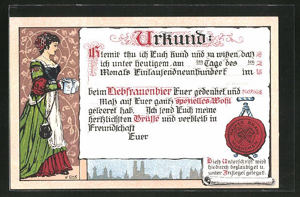 Künstler-AK Brauerei-Werbung für Hacker-Bräu München, Urkunde
