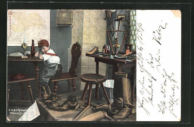 AK Schuhmacher-Lehrling in der Werkstatt