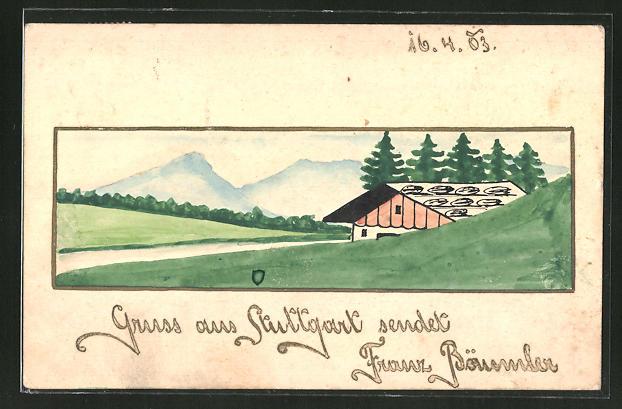 Künstler-AK Handgemalt: Almhütte in den Bergen