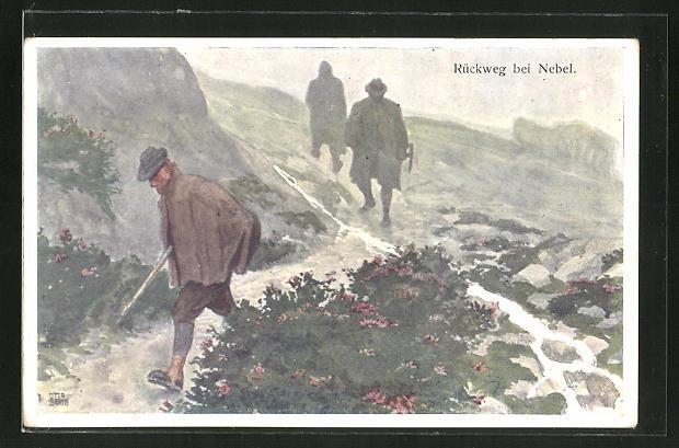 Künstler-AK Otto Barth: Wanderer auf dem Rückweg bei Nebel