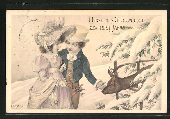 Künstler-AK R. Kratky: Kleines Paar und Rehbock, Neujahrsgruss