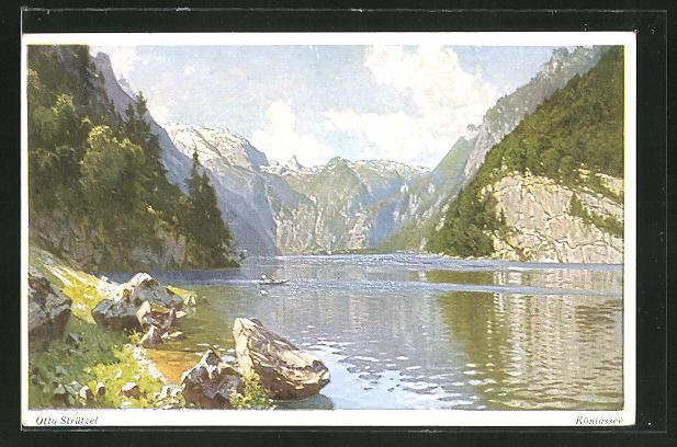 Künstler-AK Otto Strützel: Königssee, Blick vom Malerwinkel