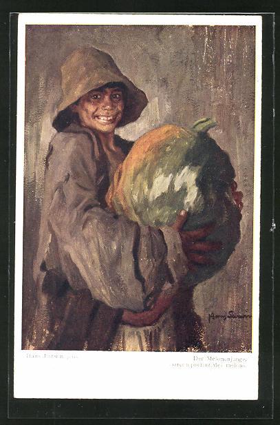 Künstler-AK Hans Larwin: Der Melonenjunge