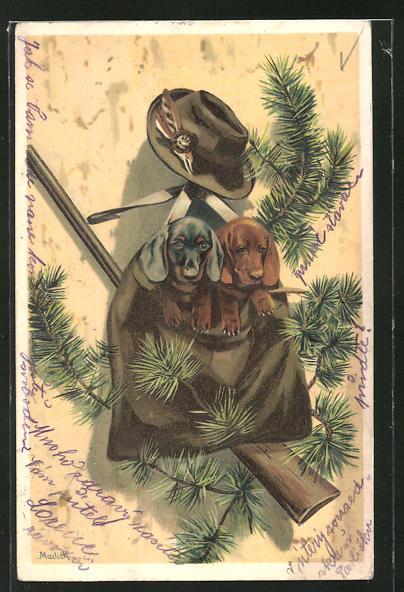 Präge-Künstler-Lithographie Alfred Mailick: Jagdstilleben mit Dackelwelpen