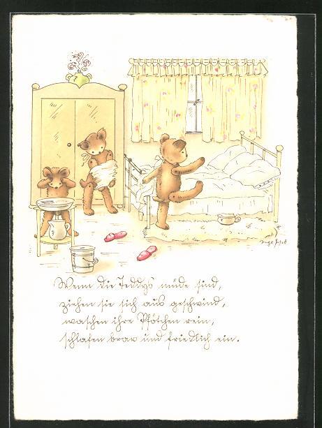 Künstler-AK Inge Schott: Wenn die Teddys müde sind...